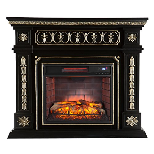 Southern Enterprises Donovan Infrared Electric Fireplace, Black Finish with Hand Painted Gold