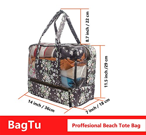BagTu Beach Tote Bags - Waterproof with Dry Wet Area Shoes Compartment, Beach Swimming Surfing Bag, Workout Gym Bag, Brown, Capacity 14.2 by 11.4 by 7.1 inch by BagTu (Image #3)