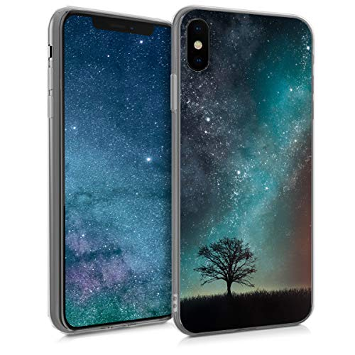 kwmobile Case for Apple iPhone Xs Max - TPU Silicone Crystal Clear Back Case Protective Cover IMD Design - Blue/Grey/Black