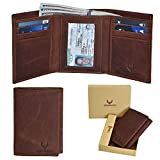 Trifold Leather Mens Wallet with RFID protection-with 6 credit card holder + 1 ID Window. (Brown Crazy Horse)