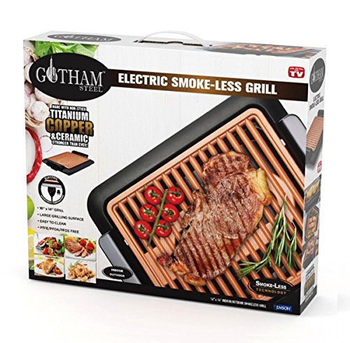 GOTHAM STEEL Smokeless Electric Grill, Portable and Nonstick As Seen On TV (Original)