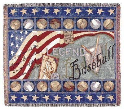 Baseball Legend Mid-Size Deluxe Tapestry Throw Blanket USA Made