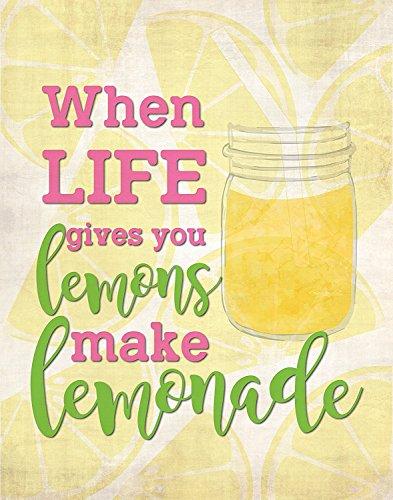 When Life Gives You Lemons, 05x07 Inch Print, Kitchen Wall Art, Motivation Wall Decor, Inspirational Quote Wall Art, Lemon Into Lemonade Print, Lemon Quote, Lemonade Nursery Decor ()