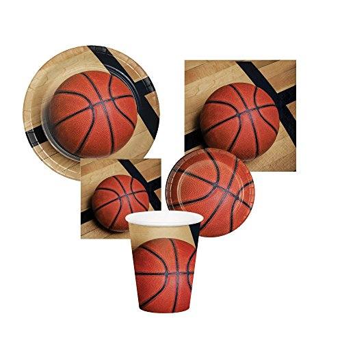 Basketball Sports Fanatics Party Supply Bundle! Serving 16 Guests and Includes Plates, Napkins and Cups.