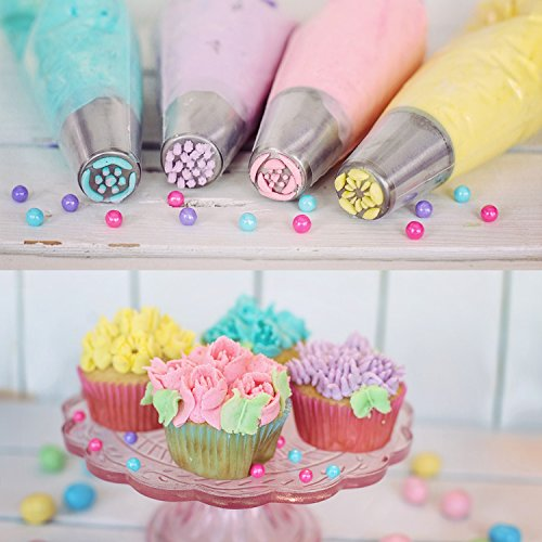 Russian Piping Tips Set - 53 pcs Cake Decorating Tips For cake, Muffins and Ice Cream Decoration Including 15 Unique Design Icing Piping Tips, 4 Couplers, 32 Bags with Gift Box for Mother's Day by Face Forever (Image #3)