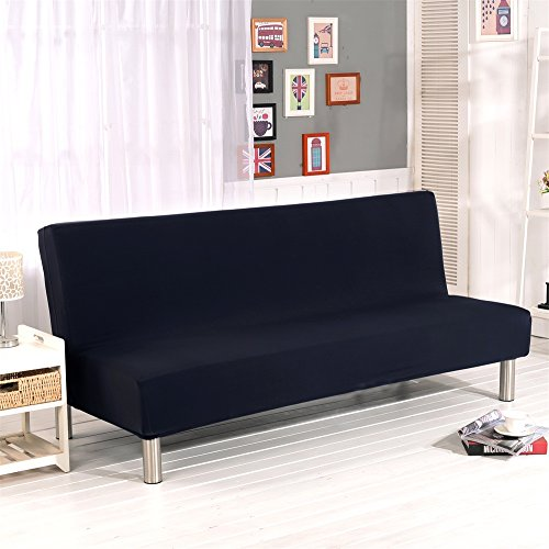 """Solid Colour Armless Sofa Bed Cover Polyester Spandex Stretch Futon Slipcover Protector 3 Seater Elastic Full Folding Couch Sofa Shield fits Folding Sofa Bed without Armrests 80"""" x 50"""" in (Black)"""