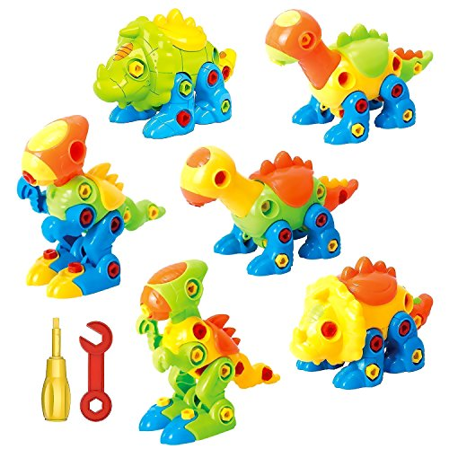 Dinosaur Toys Take Apart Toys With Tools (218 pieces) - Pack of 6 Dinosaurs - Construction Engineering STEM Learning Toy Building Play Set - Toy for Boys & Girls Age 3 - 12 years old