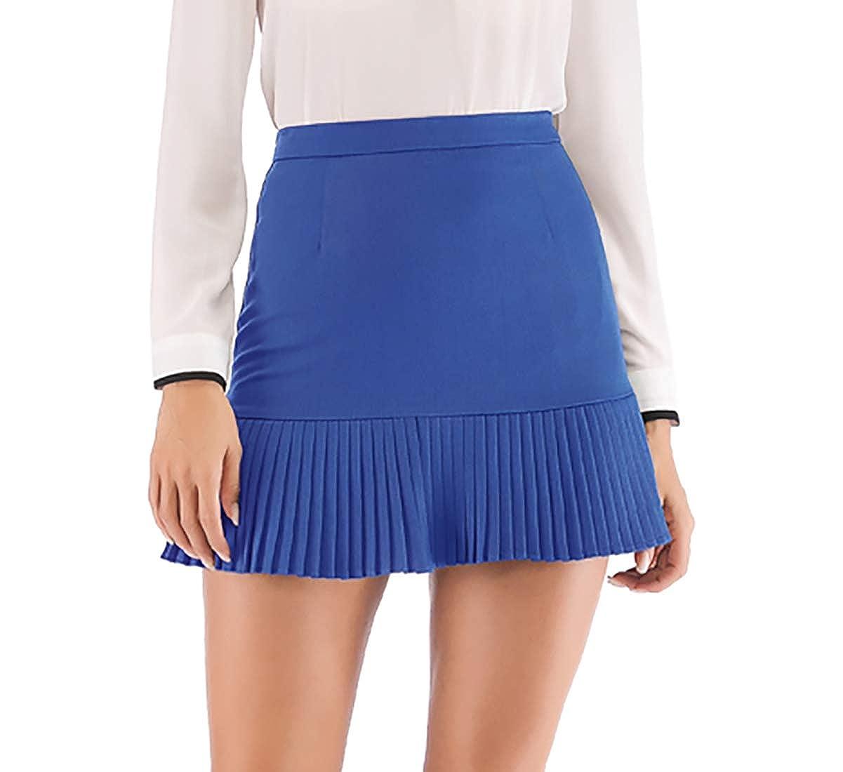 bluee Hanlolo Women's Ruffle Mini Skirt Flared Hem High Waist Short A Line Skirts
