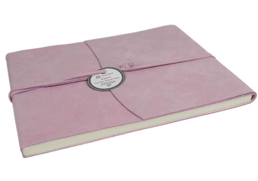 Capri Libro de visitas Envuelto en Cuero Italiano Hecho a Mano Extra Grande Salmón, Páginas Libro de visitas (22cm x 28cm x 2cm)