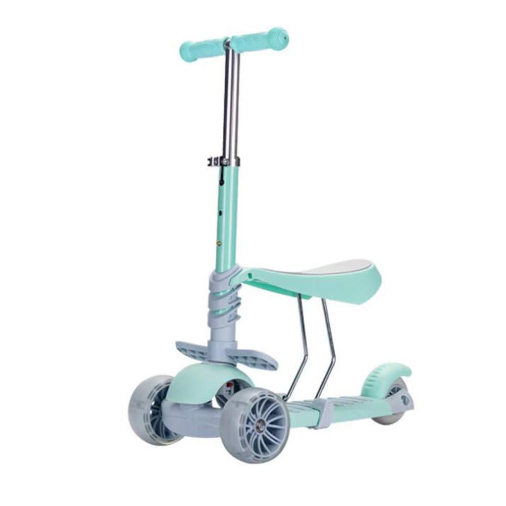 ZY Kinder-Scooter mit Frosch, Faltbare Dose für 3-in-1-Pedal-Walker,LightGrün LightGrün
