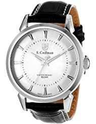 S. Coifman Mens SC0281 S. Coifman Silver Dial Black Leather Watch