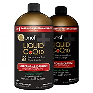 Qunol Liquid 100mg CoQ10, Superior Absorption Natural Supplement Form of Coenzyme Q10, Antioxidant for Heart Health, Orange Pineapple Flavored, 120 Servings