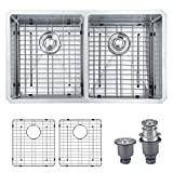 "MOWA HUD33DE Pro Series R10 Tight Radius Handmade 33"" 16 Gauge Stainless Steel Undermount 50/50 Equal Double Bowl Modern Kitchen Sink"