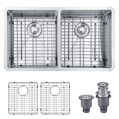 Mowa HKN33DE Pro Series R10 Tight Radius Handmade 33'' 16 Gauge Stainless Steel Undermount 50/50 Equal Double Bowl Modern Kitchen Sink by MOWA