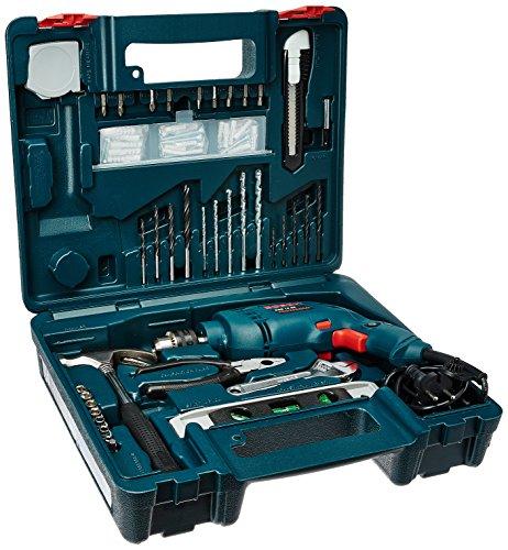 Bosch GSB 500W 10 RE Professional Tool Kit, MS & Plastic (Blue, Set of 100 Tools) 1