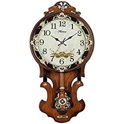 HENSE Antique Retro Living Room Decorative 13-Inch Wood Wall Clock Non-ticking Silent Quartz Movement Sweep Second Hand Wall Clocks Swinging Pendulum HP07 (Brown M)