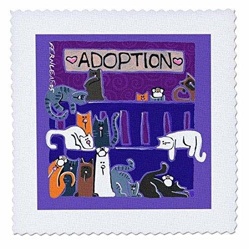 3dRose qs 34022 1 Kittens Adoption Art Quilt