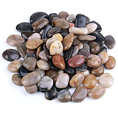 5 Pounds River Rocks, Pebbles, 1-2 Inches Garden Outdoor Decorative Stones, Natural Polished Mixed Color Stones: Home & Kitchen
