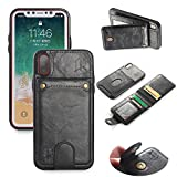 3-in-1 Apple iPhone X Credit Card Money Holder Wallet Case | Detachable Leather Card Holder | Kickstand Feature | iPhone Ten | iPhone X | iPhone 10
