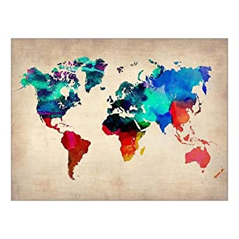 Amazon custom beautiful modern art abstract painting world map custom beautiful modern art abstract painting world map canvas print 16 x 12 inch stretched and framed artwork decor wall living room office art abstract gumiabroncs Choice Image