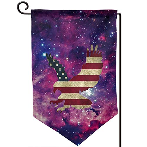 Private Bath Customiz American Bald Eagle Galaxy Galaxy Galactic Welcome Garden Flag Double Sided 12.5 X 18 Inch Summer Yard Decor Outdoor Home Double Sided