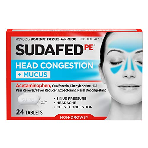 Sudafed PE Head Congestion + Mucus Tablets for Sinus Pressure, Pain & Congestion, 24 ct