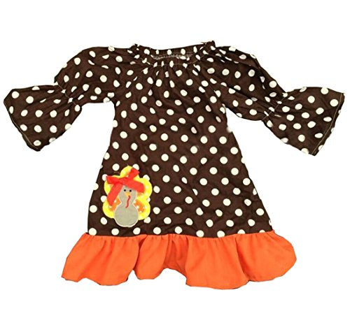 Little Girls Kid's Thanksgiving Turkey Brown Polka Dot Dress (L#5Year, Dress Only)