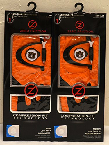 2 Zero Friction Men's Left Hand Universal Golf Gloves - Auburn - Orange by Friction