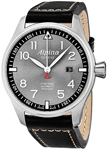 Alpina Startimer Pilot Automatic Date 44mm Grey Face Swiss Alpina Watch Men - Limited Edition Water Resistant Black Leather Band Automatic Watch AL-525GB4S6