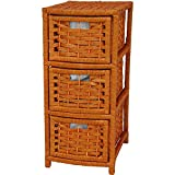Oriental Furniture Sand Color Simple Nightstand End Table Storage, 25-Inch Rattan Style Natural Fiber 3 Drawer Narrow Chest, Honey