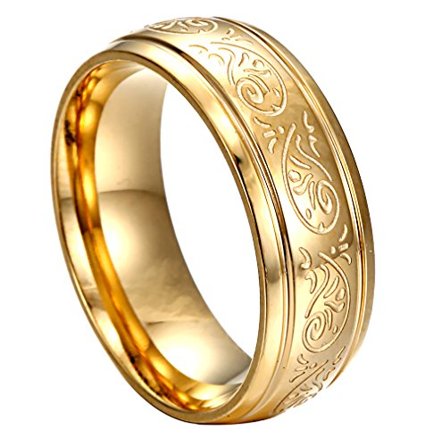 HERACULS 316L Stainless Steel Ring Band 7MM for Man Women Eternity Wedding Engagement Engraved Florentine Design Size 12