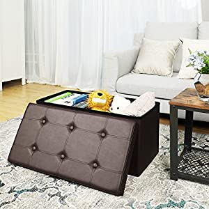 "SONGMICS 30"" L Faux Leather Folding Storage Ottoman Bench, Storage Chest/Footrest/Coffee Table/Padded Seat, Brown ULSF40Z"