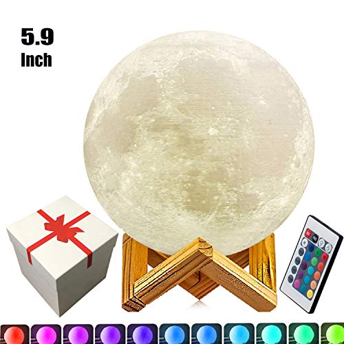5.9 Inch Moon Lamp, 3D Moon Lamp, 100% 3D Printing LED 16 Colors Moon Light, Touch&Remote Control Decorative Moon Light.