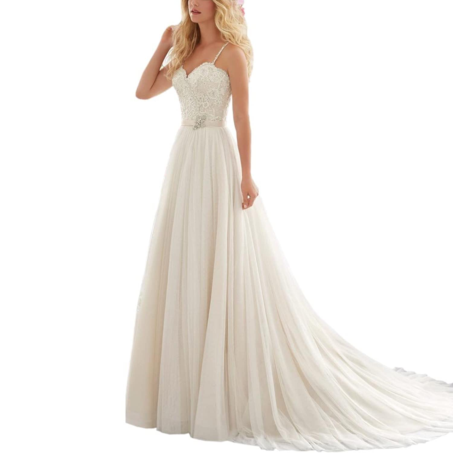 Prettywedding Double V-neck Lace Long Train Beading Bridal Wedding Dress