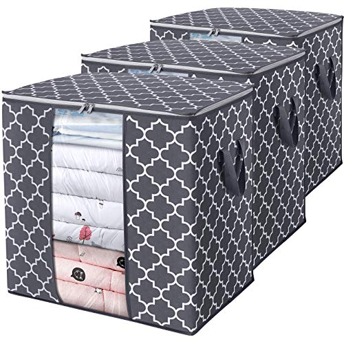WISELIFE Storage Bags 100L 3-Pack Large Blanket Clothes Organization and Storage Containers for Comforters,Bedding, Foldable Organizer with Reinforced Handle, Clear Window, Sturdy Zippers