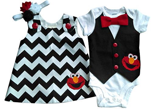 Boy Girl Twin Outfits Elmo Set Perfect Pairz USA Made by Perfect Pairz