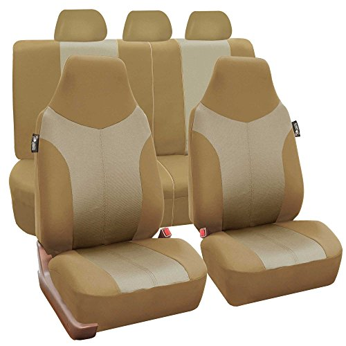 FH GROUP FH-FB101115 Beige / Tan Supreme Twill Fabric High Back Car Seat Cover (Full Set Airbag Ready and Split Rear Bench)- Fit Most Car, Truck, Suv, or Van