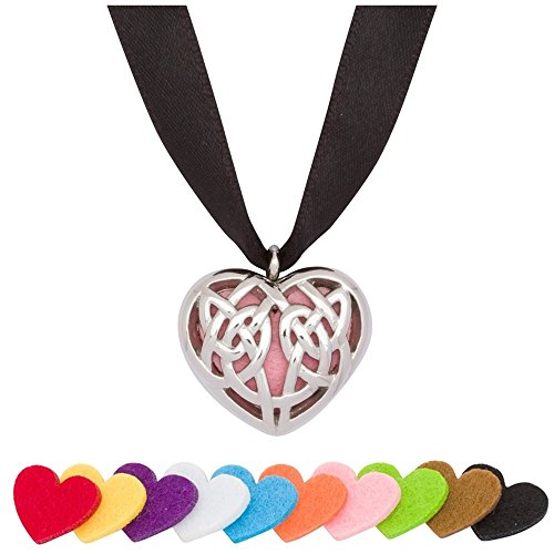 (Timeline Treasures Essential Oil Diffuser Necklace Pendant Charm Stainless Steel Celtic Heart Locket)