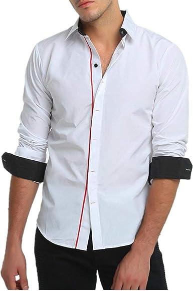 Yasminey Camisa De Hombre Camisa Chic Cuello De Ropa De Hombre para Hombres Camisas De Corte Slim Camisa De Moda Suéter De Jersey De Ocio Boda De Negocios De Ocio: Amazon.es: Ropa