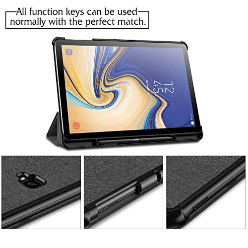 Infiland Samsung Galaxy Tab S4 Case with S Pen Holder Auto Wake/Sleep for Samsung Galaxy Tab S4 10.5 Model SM-T830/T835 2018 Release, Gray