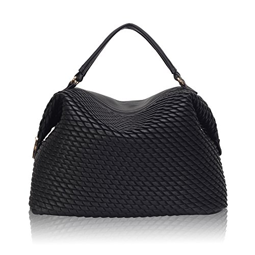 Leather Satchel Purse Dome Handbag for (Black Quilted Satchel)