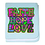 Royal Lion Baby Blanket Faith Hope Love Neon - Sky Blue