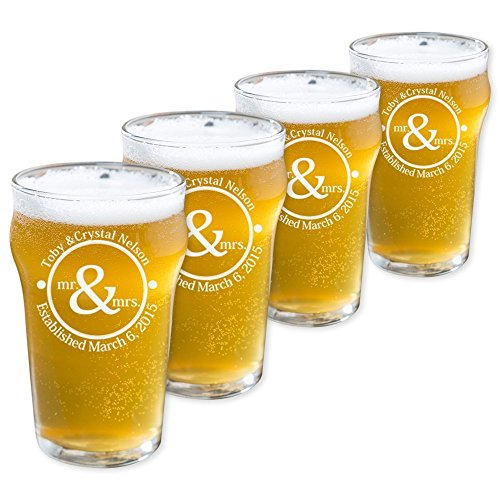 Personalized English Pub Beer Glasses Set of 4 (Pub - Pub Custom Glasses