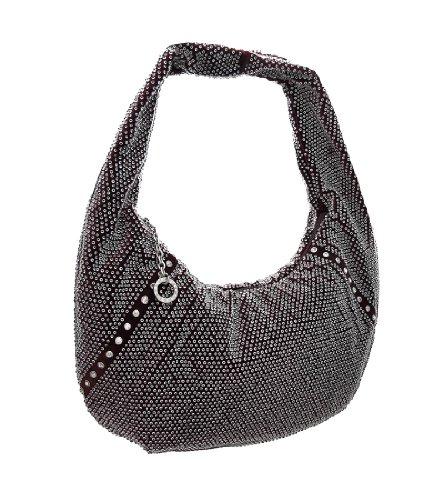 Things2die4 Polyester Womens Hobo Handbags Rhinestone Accented Beaded Velour Hobo Bag - - Velour Rhinestone