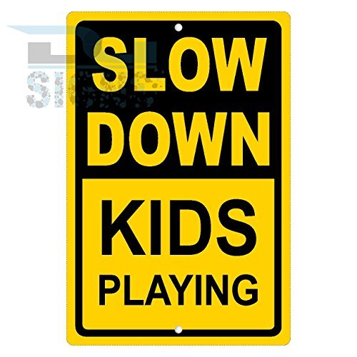 SLOW DOWN KIDS PLAYING YELLOW Aluminum Sign Metal Signs Vintage Road Signs Tin Plates Signs Decorative Plaque bienternary