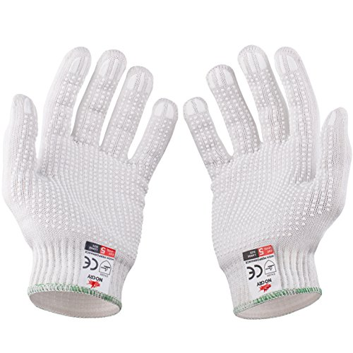 NoCry Cut Resistant Protective Work Gloves with Rubber Grip Dots. Tough and Durable Stainless Steel Material, EN388 Certified. 1 Pair. White, Size Large by NoCry (Image #7)