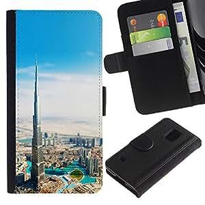 LECELL--Cuero de la tarjeta la carpeta del tirón Smartphone Slots Protección Holder For Samsung Galaxy S5 V SM-G900 -- Burj Dubai Khalifa --