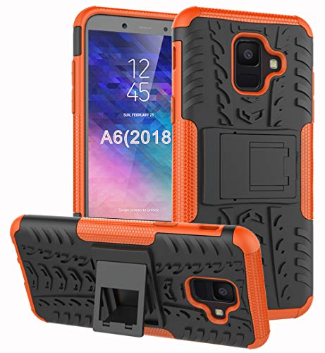 Samsung Galaxy A6 Case, Yiakeng Dual Layer Shockproof Wallet Slim Protective with Kickstand Hard Phone Case Cover for Samsung Galaxy A6 2018 (Orange)