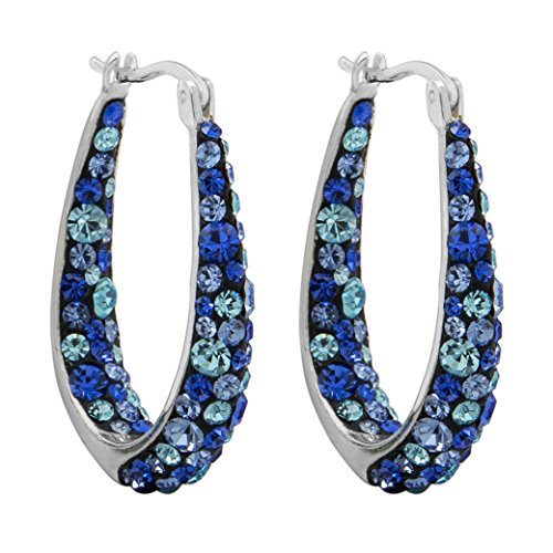 "Crystalogy Women's Jewelry Silver Plated Crystal Inside Out Oval Shape Hoop Earrings, 1.2"" Long, Multi Blue ()"