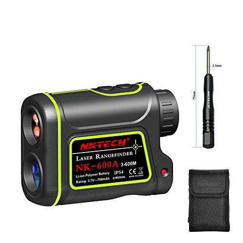 NKTECH Laser Rangefinder Laser Distance Meter Outdoor Hunting Golf 600m 1000m 1200m 1500m 4-IN-1 8X Telescope Speed Height Angle Distance Measure Tools + 750mAh Li-ion Battery (NK-600A (4in 1 Laser Level)